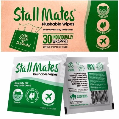 1 - Stall Mates Flushable, Individually Wrapped Wipes