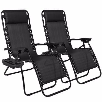 #2 Best Choice Products Zero Gravity Black Lounge Patio Chairs
