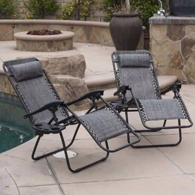 #4 Belleze 2-Pack Zero Gravity Chairs Patio Lounge