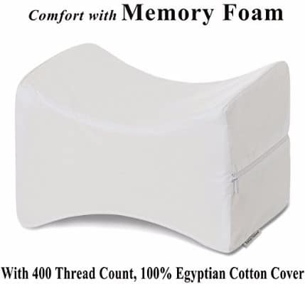 4 - InteVision Knee Pillow with, 400 Thread Count, 100% Egyptian Cotton Cover