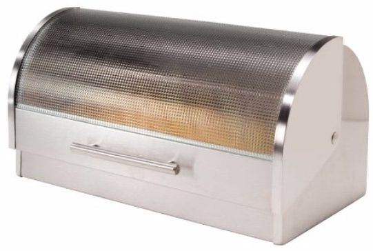4 - Oggi Stainless Steel Roll Top Bread Box with Tempered Glass Lid
