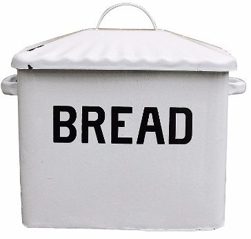5 - Creative Co-op Enameled Metal Bread Box