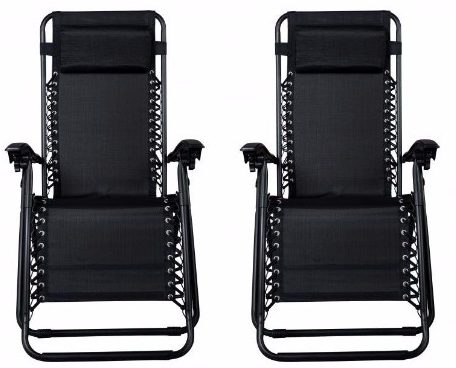 #6 Zero Gravity Chairs Case Of (2) Black Lounge Patio Chairs