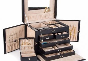 #7 Black Leather Jewelry Box Travel Case and Lock