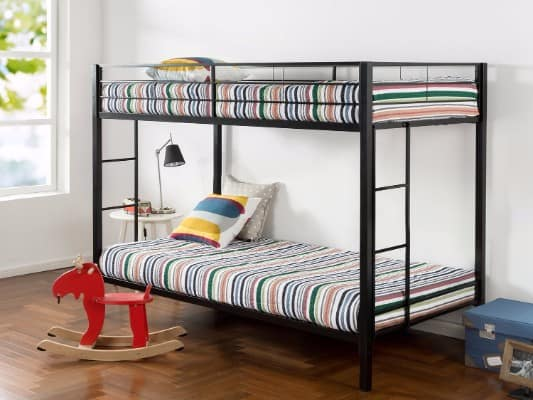 #8 Zinus Easy Assembly Quick Lock Twin over Twin Classic Metal Bunk Bed