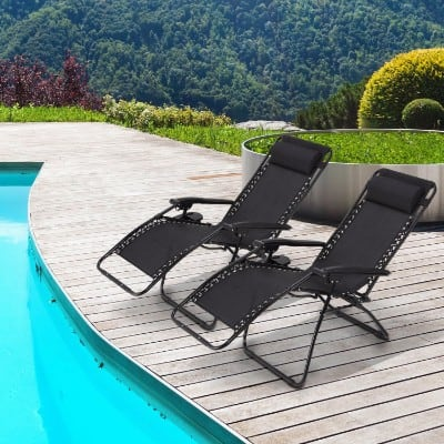 #9 Ollieroo 2-Pack Black Zero Gravity Lounge Chair