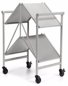 #2 Indoor or Outdoor Folding, Metal, Rolling Serving Cart