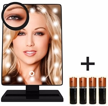 #2 Krasr Touch Screen 20 LED Lighted Makeup Mirror with Removable 10x