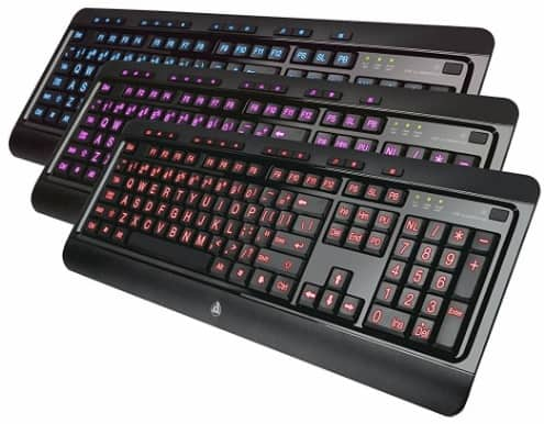 #4 Azio Large Print Tri-Color Backlit Wired Keyboard
