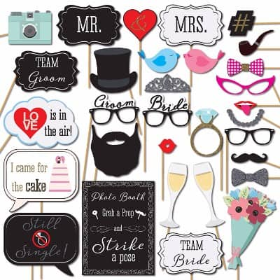 #4 Wedding Photo Booth Props with Strike a Pose Sign