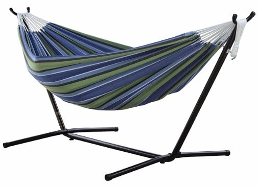 #6 Vivere Double Hammock with Space Saving Steel Stand