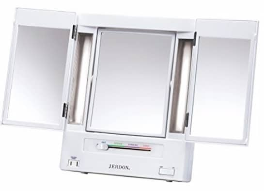 #7 Jerdon Tri-Fold Two-Sided Lighted Makeup Mirror