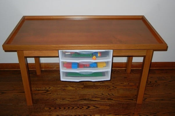 #7 LEGO OAK COLOR PLAY TABLE WITH 3 STORAGE DRAWERS