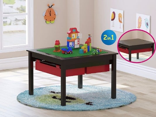 In  Kids Construction Play Table With Storage Drawers