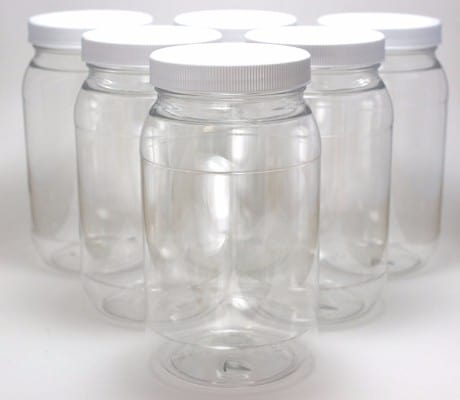 #1 J&S Clear BPA Free Plastic Wide Mouth Jars with White Lids