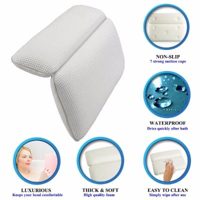#10 GEROWA Bath Pillows Non-slip Spa Bath Pillow