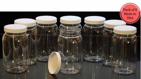 #2 16 Oz Plastic Jars with lids, wide mouth, Bulk Pack of 8