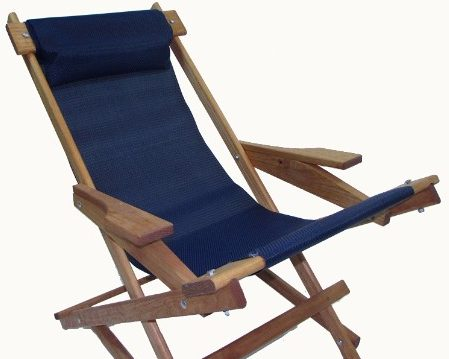 #2 Wooden Folding Rocking Chair with All Weather Sling