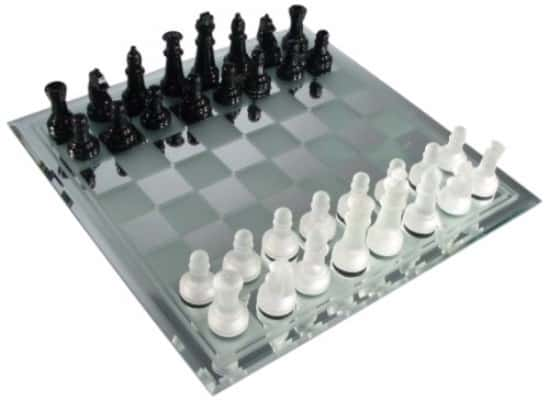 #3 Avant-Garde Black Frosted Glass Chess Set with Mirror Board