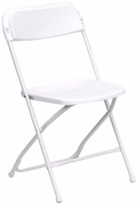 #3 HERCULES Series 800 lb. Capacity Premium White Plastic Folding Chair