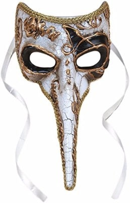 #3 Plague Doctor Venetian Long Nose Mask, White w Gold & Black Accents