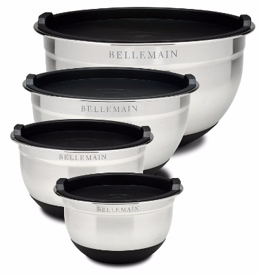 #3 Top Rated Bellemain Stainless Steel Non-Slip Mixing Bowls with Lids – 4 piece