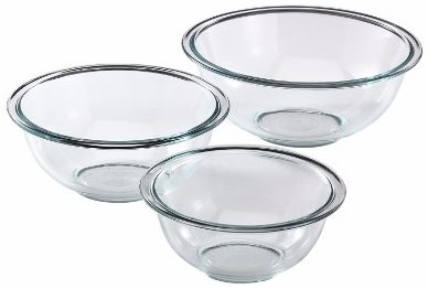 #4 Pyrex Prepware 3-Piece Glass Mixing Bowl Set