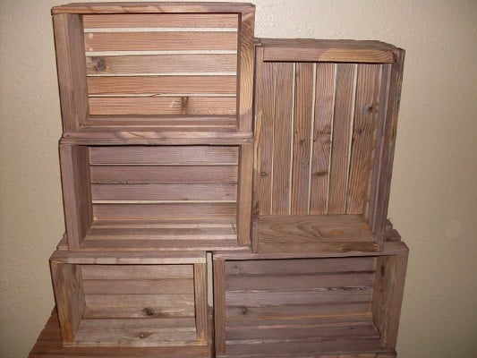 #4 Rustic Nesting Wood Crates Set of 5 Made in the USA