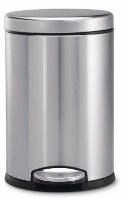 #4 Simplehuman Mini Round Step Trash Can, Stainless Steel