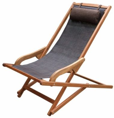 #4 Wooden Sling Swing OutdoorPatio Chaise Lounger with Pillow