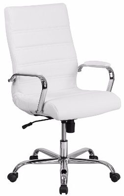 5 high back white leather executive swivel chair