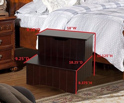 #5 Kings Brand Large Cherry Finish Wood Bedroom Step Stool With Storage