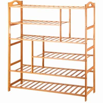 #5 Ollieroo 6 Tier Natural Bamboo Shoe Rack