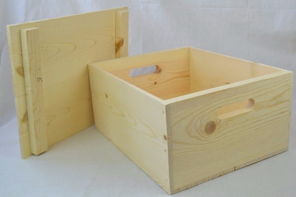 #5 Wooden Pine Box with Hand Holes and a Drop on Lid