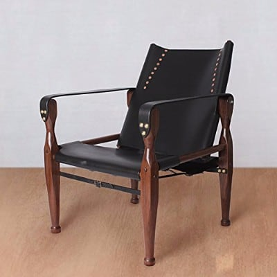 #6 Black Safari Roorkhee Campaign Camp Leather Wood Lounge Sling Chair
