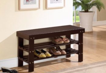 #6 Espresso Finish Solid Wood Storage Shoe Bench Shelf Rack