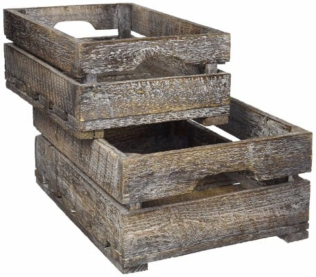 #6 Set of 2 Country Rustic Finish Wood Storage Crate