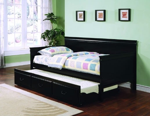 #7 Coaster Traditional Style Black Finish Daybed with Trundle