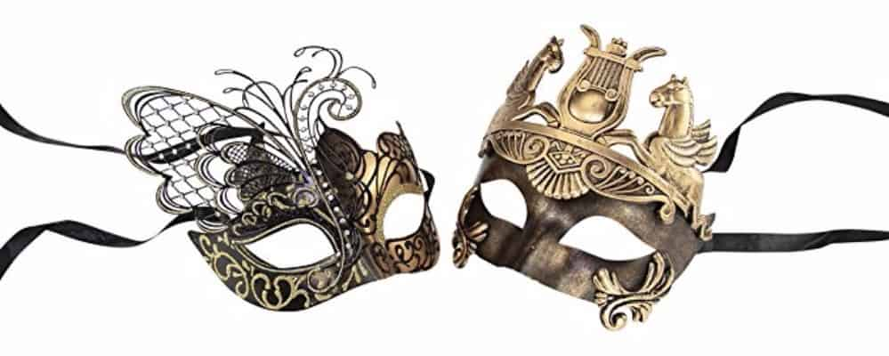 #7 Gold Black Flying Butterfly Women Mask & Gold Roman Warrior Men Mask