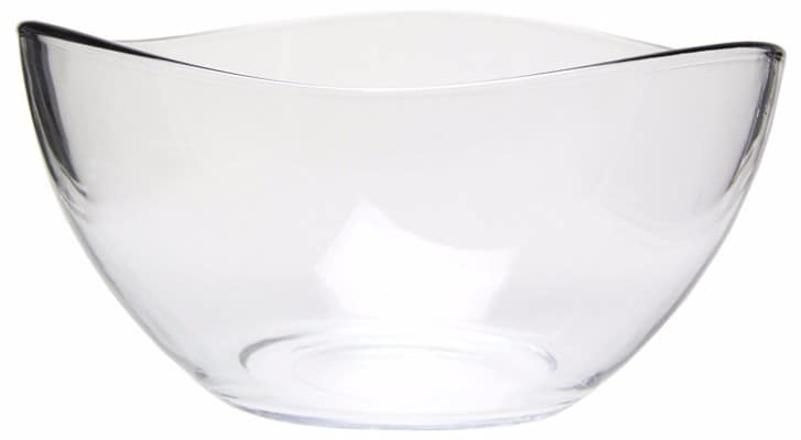#7 Large Clear Glass Wavy ServingMixing Bowl, 63.5 oz