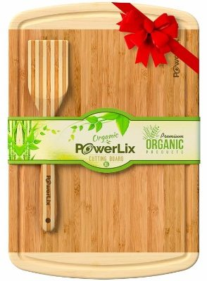 PowerLix Best Organic Bamboo Cutting Board - Extra Large and Thick