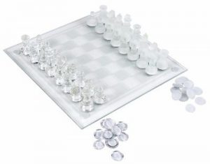 #8 Elegant Glass Chess & Checker Board Set Clear & Frosted