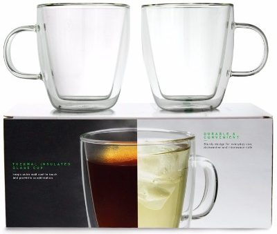 8 Linkyo Glass Coffee Cups Double Wall Insulated Mugs