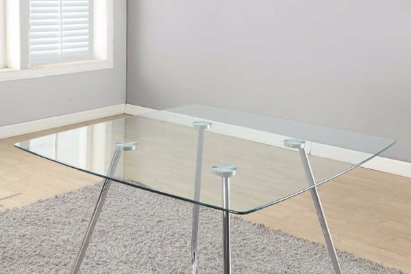 #8 Monarch Specialties Chrome Metal Tempered Glass Dining Table
