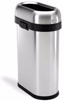 #8 simplehuman Slim Open Top Trash Can, Commercial Grade