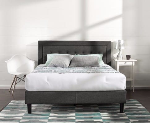 Zinus Upholstered Button Tufted Premium Platform Bed Grey