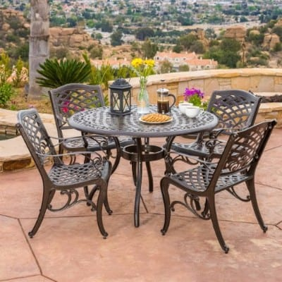 Covington Antique Bronze Outdoor Patio Furniture 5pcs