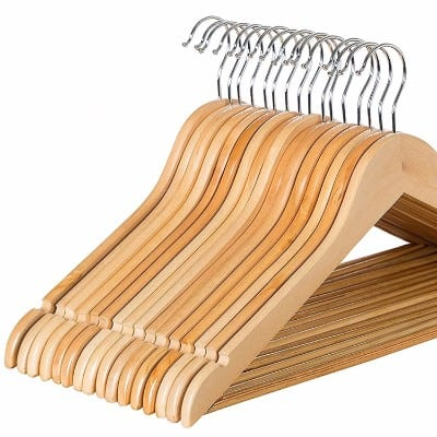 Zober Solid Wood Suit Hangers, 20 Pack