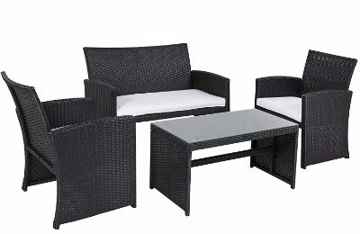 Best Choice Products Patio Seat Black Sofa Furniture Set__