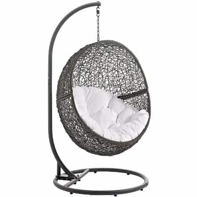 Modway Patio Swing Chair with Stand, Gray White